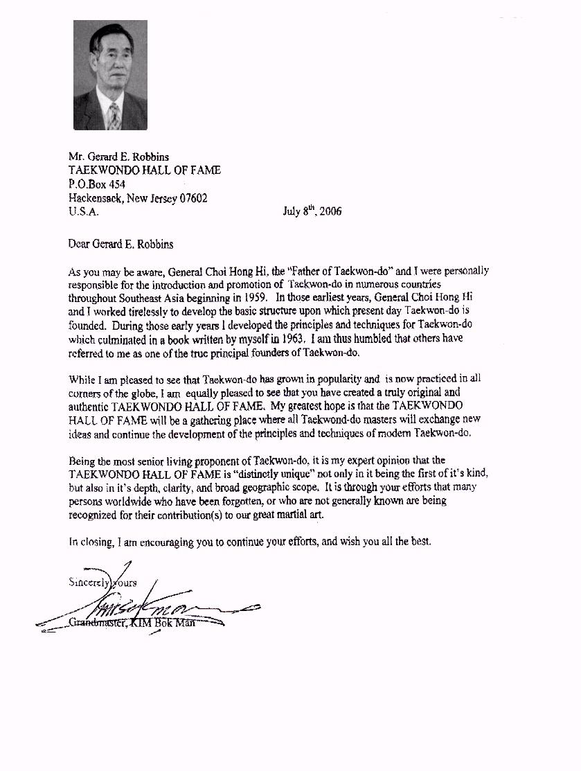 Letter of Acknowledgement from Grand Master Kim Bok Man - TAEKWONDO ...